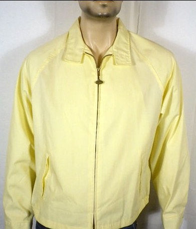 Vintage 50s 60s Minty Campus Yellow Zip Up HARRINGTON Jacket James Dean Talon Zipper USA XL Rare Size & Condition!! Hipster Rockabilly Cool!