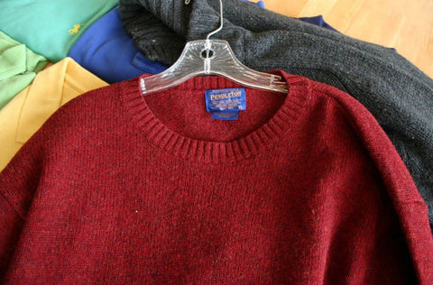 Great Pendleton Large Rust Crew-neck 100% Pure Virgin Wool Sweater Fantastic!!