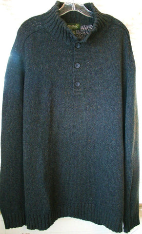 Great 4 Button Pullover Heather Gray Thick Eddie Bauer XL Tall Winter Sweater!!