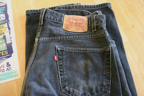 Vintage Black Levi's 505's Size 36/32 Nice Ageing & Whiskering With a Few Rub Marks Near Knee Area USA Made. A Great Pair and Ready to Go!