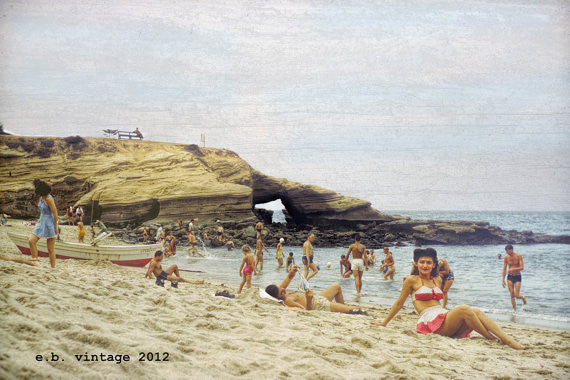 1940s La Jolla Cove Beach Vintage Scene, 8x12 Print from Original Negative