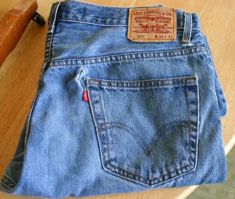 Size 36/32 505's Levis Distressed, Rip Near Back Right Pocket, Would Take A Nice Patch, Aged With Some Nice Indigo Color Ready To Go!!