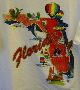 Florida State XXL Travel Tee T-Shirt Fantastic Condition Made In USA 100% Cotton Very Cool Bright Graphics Near Mint Condition!!