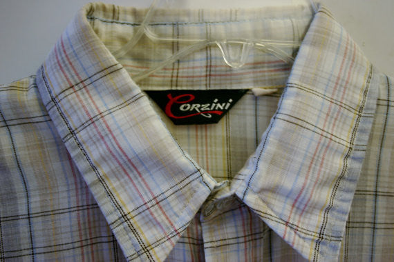 XL Corzini Short Sleeve Plaid One Button Pin Point Front Pocket Retro Rockabilly Grunge Surfer Prepster Hipster Cool!! Huge Collars!