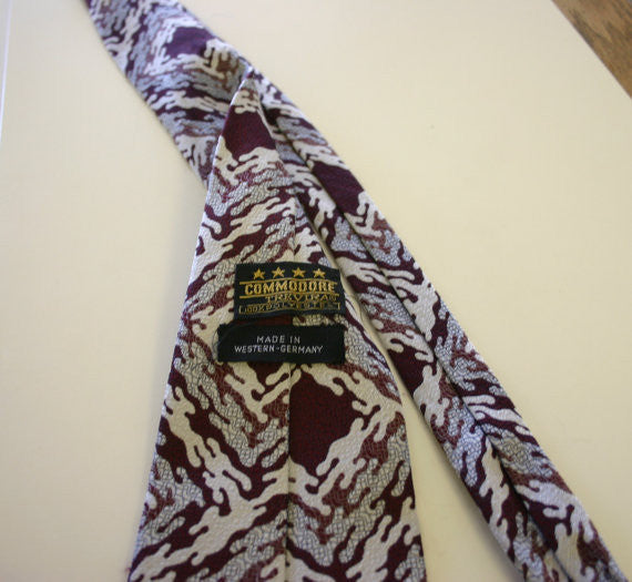 "Fatty 4.5 Inch 1970's Textured Polyester Hipster Disco King Pimp Daddy Necktie ""Commodore"" Made In West Germany Fantastic!!"