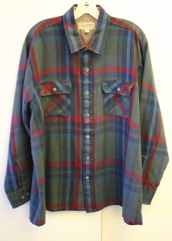 Fantastic 70's XL Big Long Arrow Sportswear Long Sleeve Shadow Plaid Men's Shirt Feels Like Flannel, Collar Area Lined Fantastic Condition!