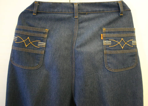 1970s Levis Talon Zipper Bell Bottom Designer Jeans Approx Size 38 Waist Perfect Condition Dark Blue Wash a Great Find & Very Collectable!