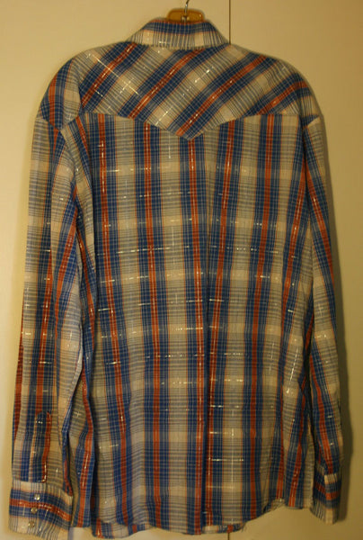 Size XL BJ and R Brand Long Sleeve Pearl Snap Western Late 70's to Early 80's Fantastic Condition Nice and Thin Ready To Ship Fast!