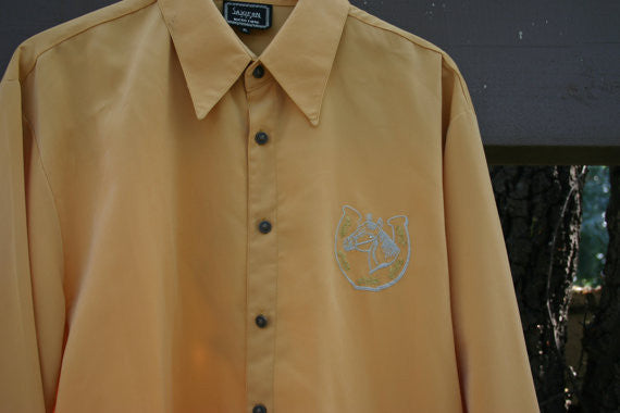 Fantastic 1970's Size XL 100% Polyester Micro Fiber Western Cowboy Long Sleeve Shirt Embroidered Front & Back Parade Shirt Brass Buttons!!
