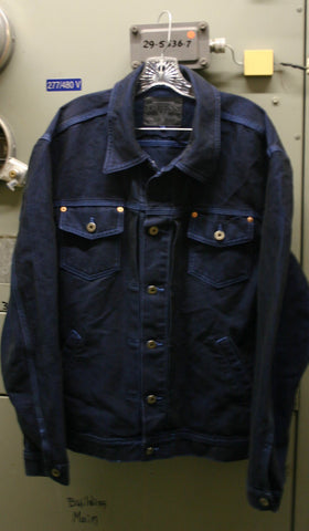 Guess Jeans Denim Size XL Jacket Made In USA Button Front 4 Pocket, Fantastic Condition Dark Indigo Blue With Blue Stitching Very Preppy!