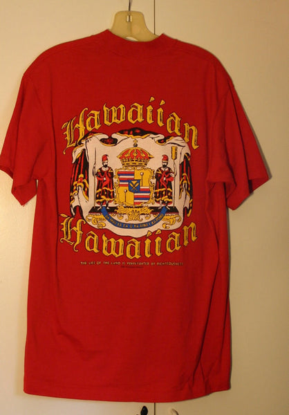 Size Large Dead Stock 1992 Dated Sof Tee Brand Made In USA 100% Pre Shrunk Cotton Hawaiian State Seal Two Sided Tee Perfect Condition Rare!