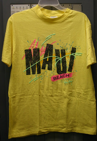 Ultra Rare Early 80's Hanes Beefy-T Dead Stock Neon Colors Puff Ink Size Large 42-44 Made In USA Totally Cool Maui Beach Party Location Tee!