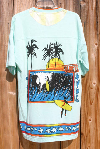 Ultra Rare 70's Size XL Pacific Tide Brand Huge Pocket Two Toned Crew Neck (Mod) Surfing Tee Thin Soft Near Mint Condition Made In USA Rare!