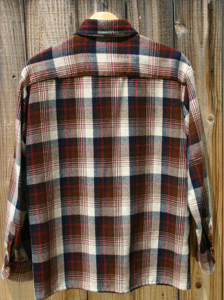 Size Large 1970s Thick Long Sleeve 100% Acrylic Shadow Plaid Linning Around Inside Neck Slight Wear, All Buttons Great Shape!