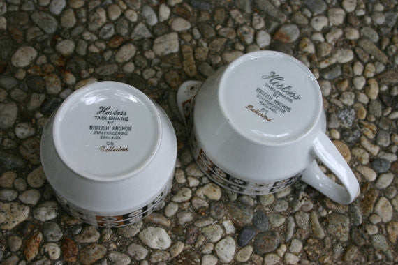 Eames Era Atomic English Anchor Staffordshire Creamer Sugar Service Set, Perfect Condition Great Pattern Hipster Coffee or Tea Cool!
