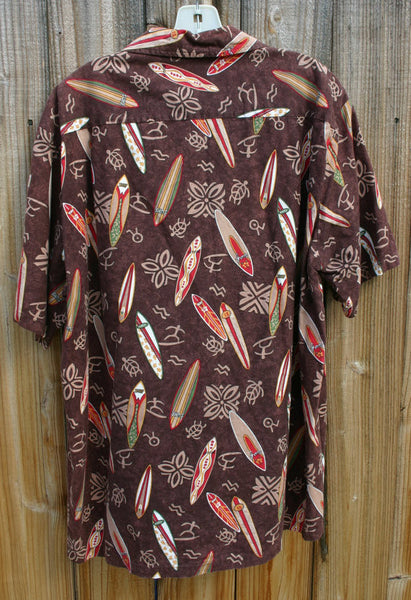 Size XL Coconut Buttons Made In Hawaii 1960s to 70s Naniola By Lamco, Aloha Shirt Great Condition, Surfboards Tapa Tiki Cool!