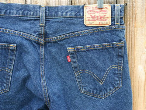 Size 36/34 Original Indigo Blue, 550 Relaxed Fit Levis Jeans Very Clean & Ready To Ship Fast!