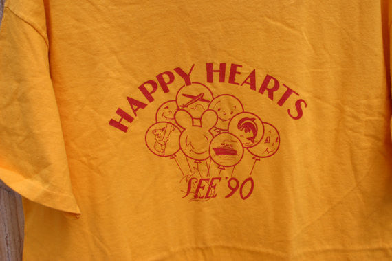 Size XL 100% Cotton 1990 25 Years Old Dead Stock SoCal Happy Hearts See 90, Made In USA Hanes Beefy Tee, Great Old Tee!!