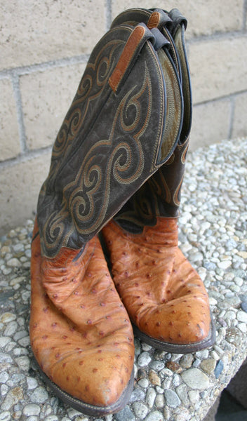 Size 11 Hand Made Dan Post Ostrich Skin Cowboy Boots, Great Condition Normal Wear Nice & Supple 1980's From First Owner.