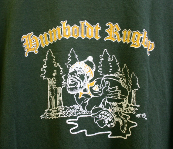 Size 2X 100 Percent Cotton Pre Shrunk Humboldt County California Rugby Two Sided Tee, Nice and Worn Soft Crackled Graphics. Cool Tee!
