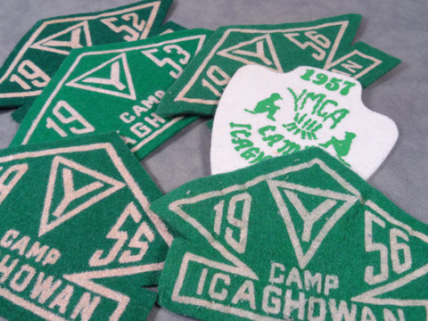 Nice Set Of 5 YMCA Camp Icaghowan Patches Cir. 50s ('52, '53, '55, '56, '57) Plus One Extra 1956 Patch.