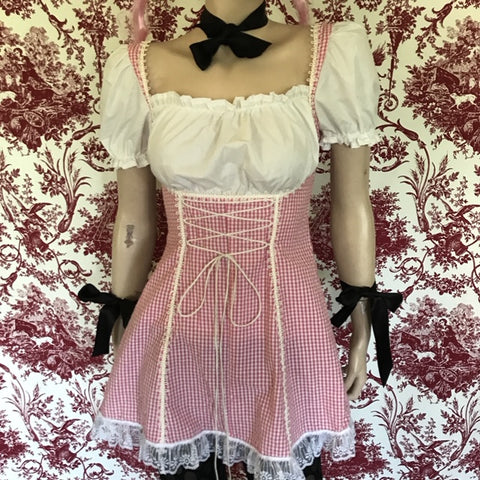 "pink and white gingham ""Barmaid"" dress"