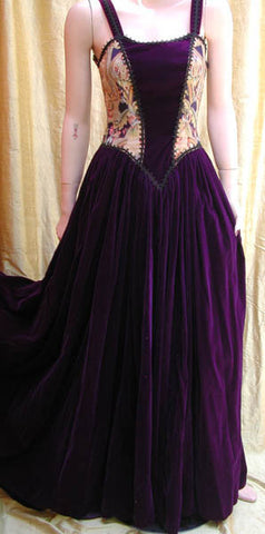 Long velvet and Victorian Tapestry dress