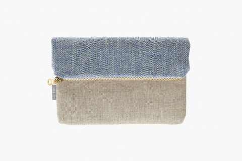 ​13x20, 20x20 or 23x25 cm Blue-white patterned cotton beige-brown raw linen golden metal zipper