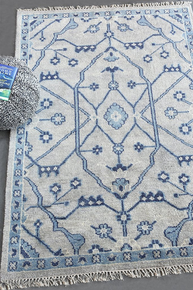 abez wool rug in blue and grey color
