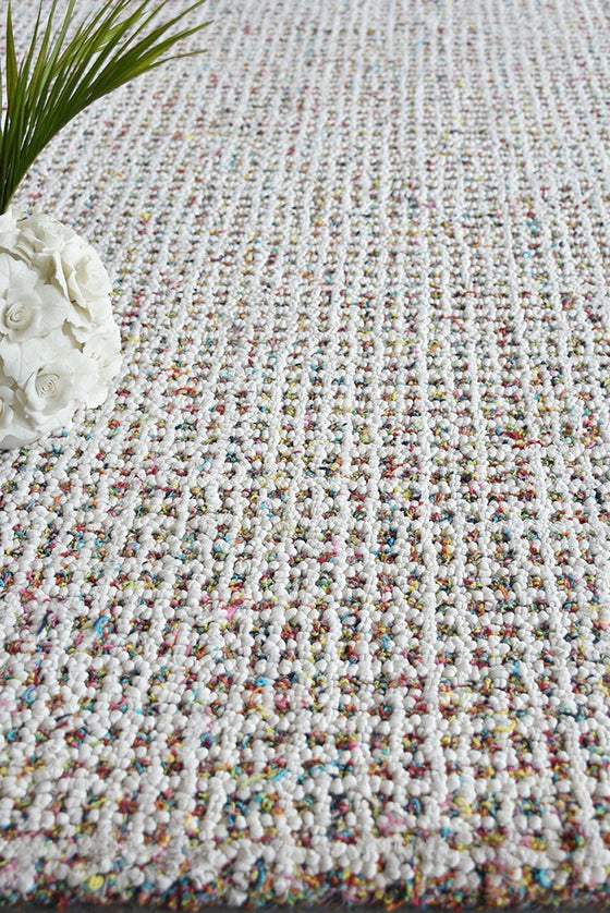 acala recycled rug in multi and white color