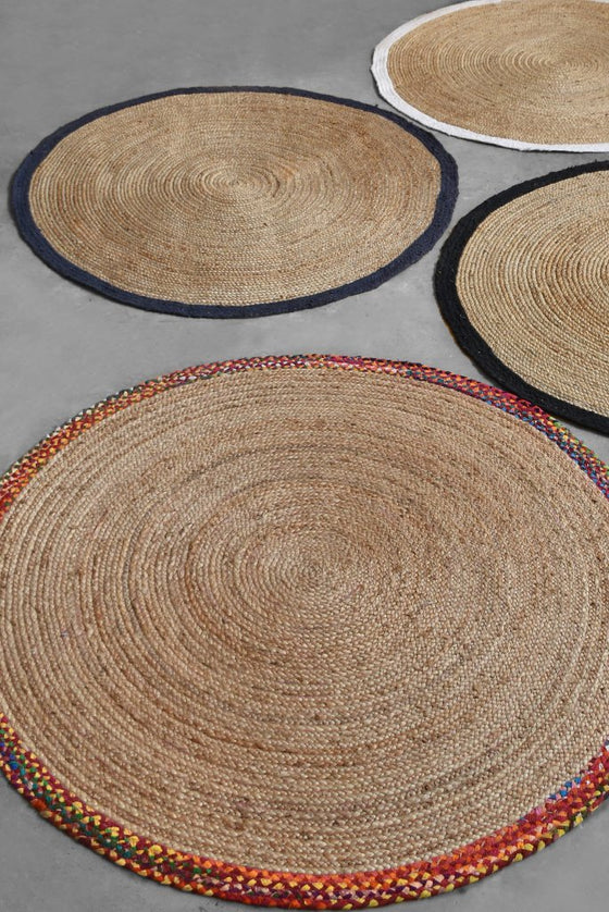 afono hemp rug in black and natural color