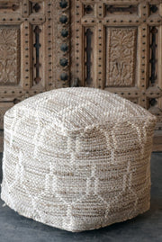 alona wool pouf in natural and ivory color