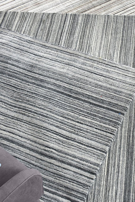 boras wool rug in silver and charcoal color