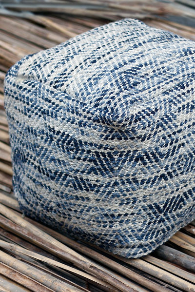 barnby wool pouf in grey and blue color