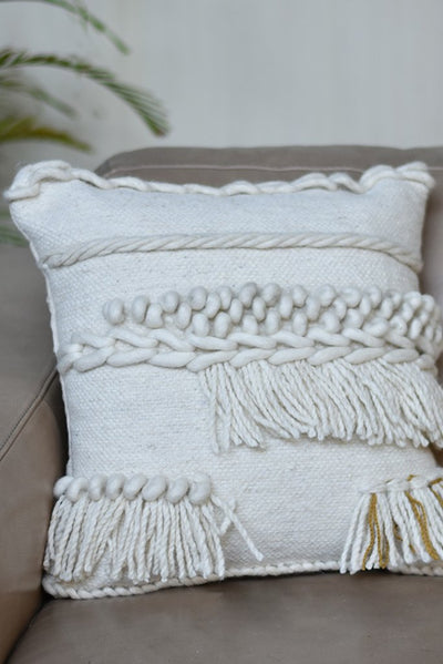 bellamy wool pillow in ivory color