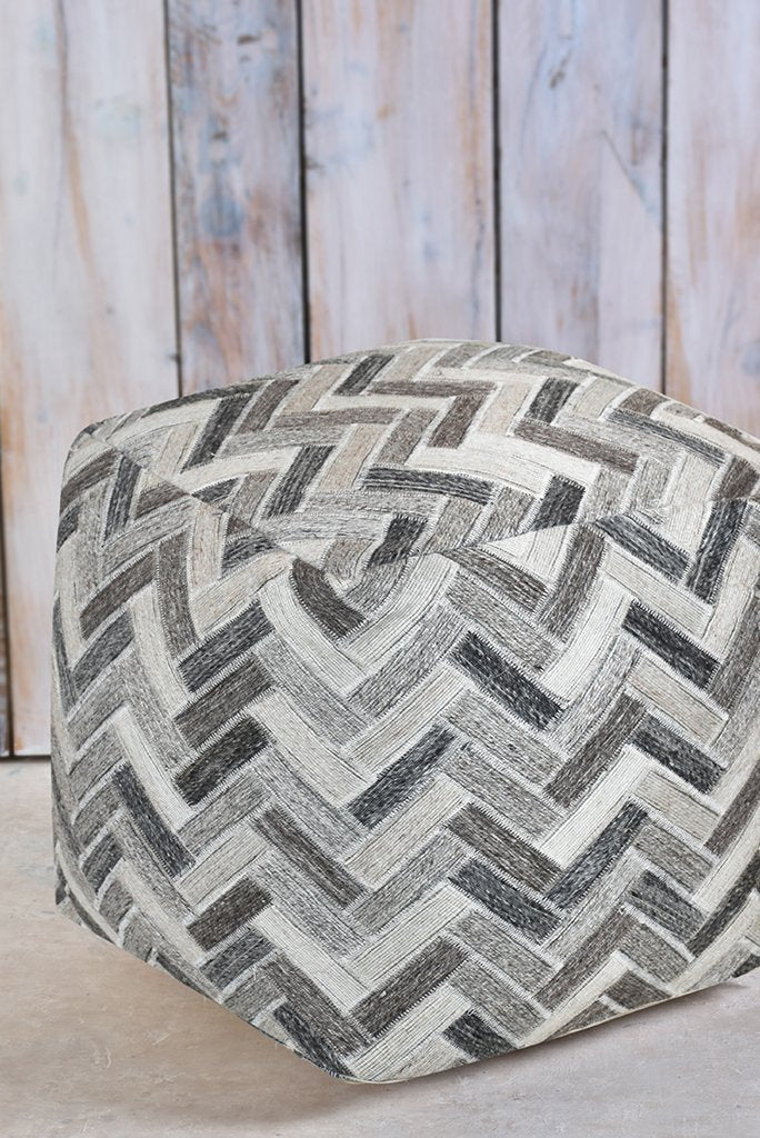 carson wool pouf in pearl grey color