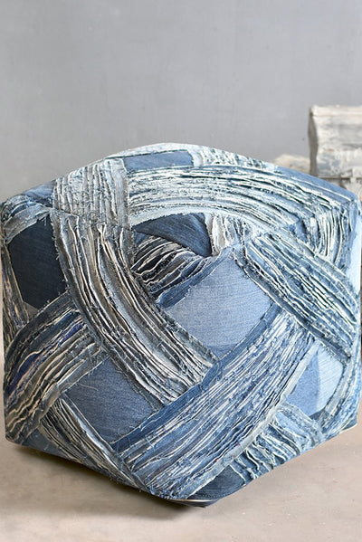 javor denim pouf in blue color