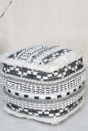 ellinger wool pouf in charcoal, grey and ivory color