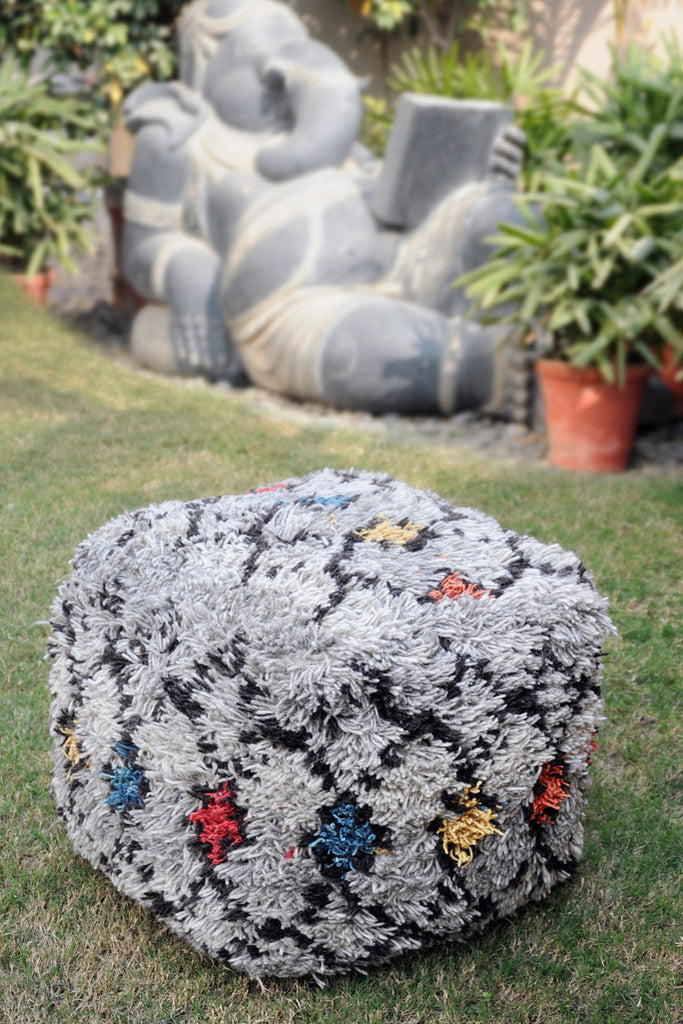 hamont wool pouf in grey and multi color