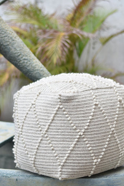 hensley wool pouf in ivory color