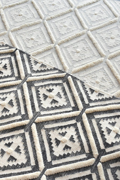 ituri wool rug in grey and ivory color