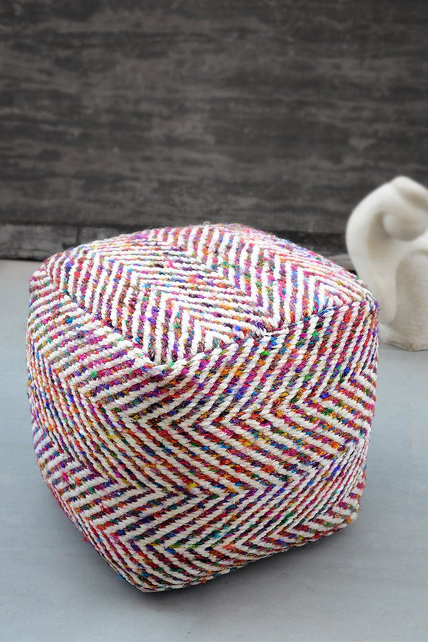 manwel recycled pouf in multi color
