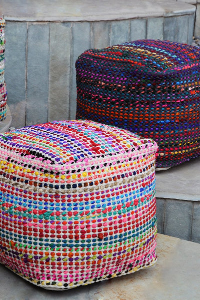 madrid recycled pouf in sage color