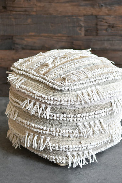 marmara denim pouf in  beige and ivory color