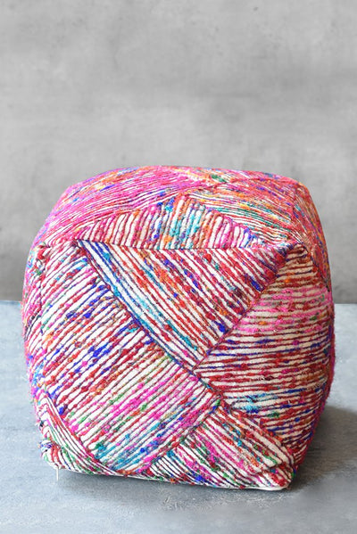 cayton recycled pouf in ivory and multi color