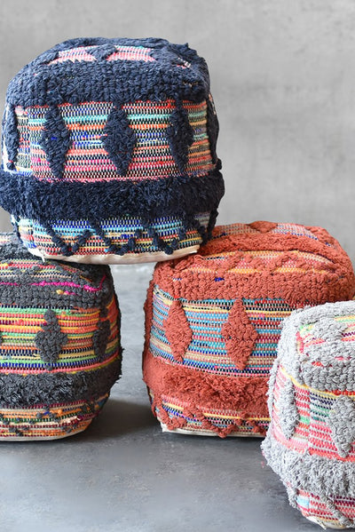 wexford cotton pouf in grey and multi color