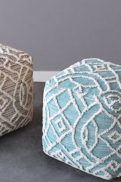 warley wool pouf in charcoal and ivory color