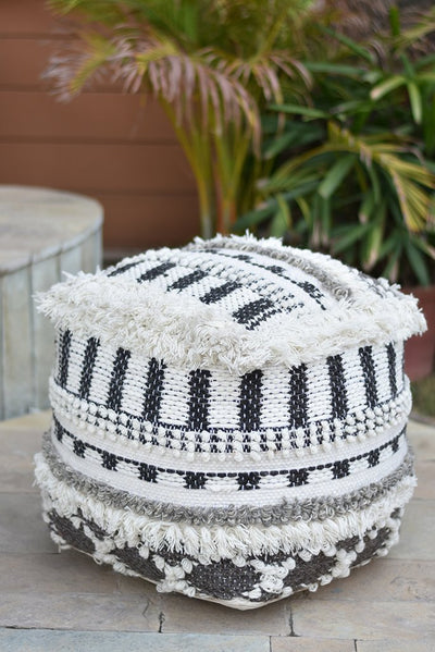 yama wool pouf in charcoal, grey and ivory color