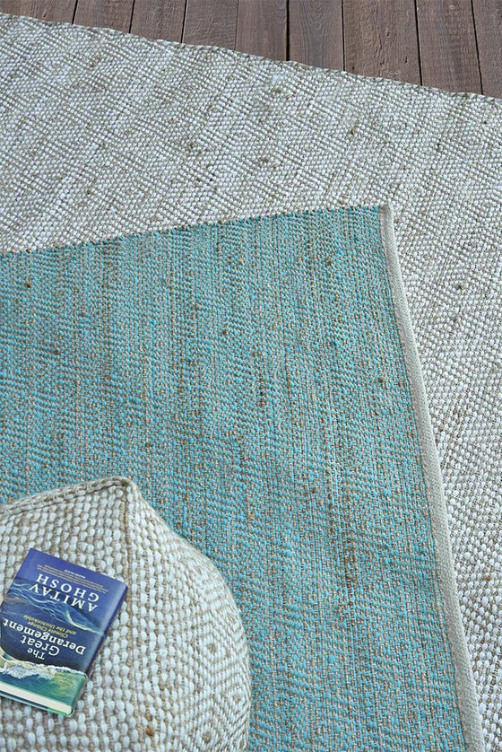 abella hemp rug in aqua color