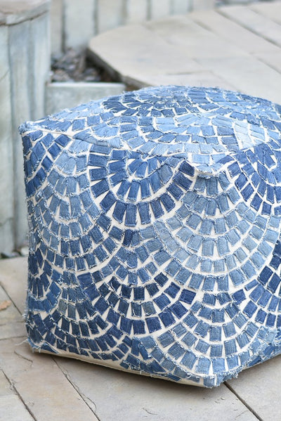 amigo denim pouf in blue color